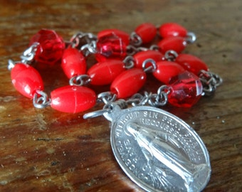 Vintage Antique Pocket Rosary Catholic Red  Beads with Silver Metal