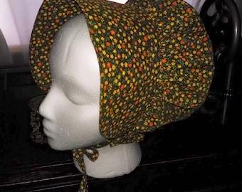 Prairie bonnet, brown print, child size