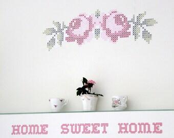 cross stitch wall decal- two roses wall art , wall sticker houseware crossstitch