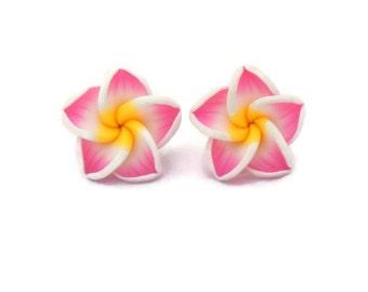 Hawaiian Flower Earrings - Large Pink Plumeria - Tropical Rockabilly, Retro, Pinup - Nickel Free