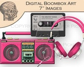 Digital Clip Art Graphics Hot Pink Boombox Radio Tape Player Images Instant Download Printable