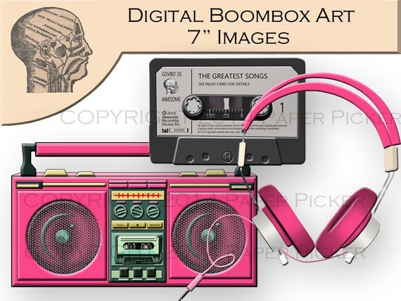 Digital Clip Art Graphics Hot Pink Boombox Radio Tape Player