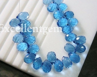 30pcs, Earring Briolette, Faceted teardrops glass quartz in topaz blue color -- 7x10mm, jewelry makiing