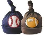 Kensington Baby Baseball/Football Combo Baby Boys Cotton Beanie Hats, 0-18 Months, Many Colors. You get Both! We even do them in PINK!