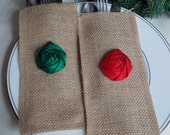 Burlap Holiday Decor Red and Green Set of Two Burlap Silverware Envelopes Rustic Shabby Chic Holiday Decor hostess gift under 10