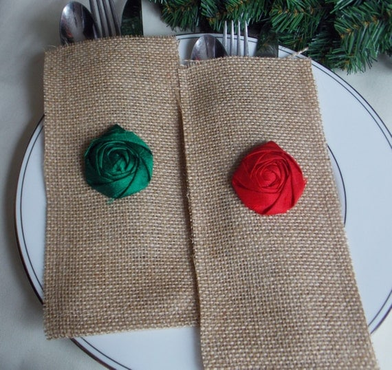 Red and Green Holiday Decor Set of Two Burlap Silverware Envelopes Rustic Shabby Chic Holiday Decor