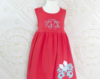 Crab Dress, Nautical Dress, Appliqued Dress, Embroidered Dress, Monogrammed Dress, Toddler Dress, Summer Dress, Sundress