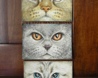 Original ACEO Eyes of the cats No.3  Original Painting- Watercolor- Card -collectible- fine art