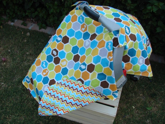 Infant Car Seat Canopy Blue Orange Hexies