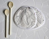 black and white kitchen pair of potholders - minimal kitchen - leaf print - foodie gift