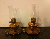 Vintage Glass Oil Lamp with Copper Shield and Base