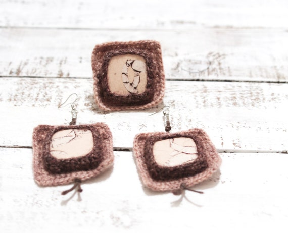 Crochet Jewelry Set Earrings Ring Cappuccino Brown Squares