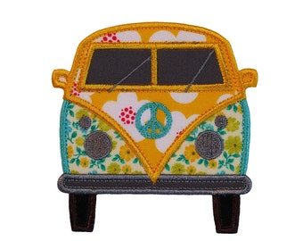 """Hippy Van Applique Machine Embroidery Design Patterns 3 variations in 3 sizes 4"""", 5"""" and 6"""""""