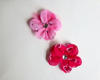 Children's Pink Flower Hair Clip, Pink Bandana Fabric, Pink Flower Hair Accessory, Little Girl's Hair Clip