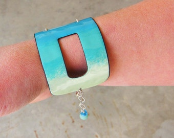 Big colorful cuff bracelet Statement bracelet Bohemian jewelry Ombre blue green enamel cuff  One of a kind bracelet