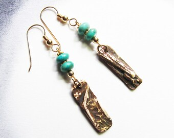 Bohemian jewelry Bronze turquoise gold dangle earrings Rustic drop earrings Gold ear wires