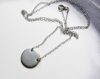 Long layering enamel necklace Matt silver medallion disc 30 inch pendant necklace Sterling silver jewelry