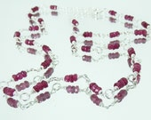 Faceted Genuine Ruby and Sterling Silver Handmade Chain Necklace