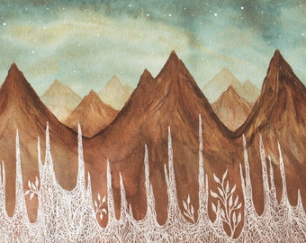 Mountain Print // fine art print // Nursery Decor // Aurora Borealis & the Elk Mountains