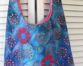 Turquoise and Pink Batik Cross Chest Hobo Bag