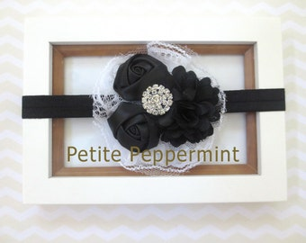 Black baby headband, toddler headband, black flower headband, newborn headband, baby hair bow