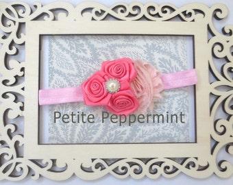 Pink Baby Headband, Baby flower headband, Newborn Headband Toddler Headband, Pink Baby Flower Headband