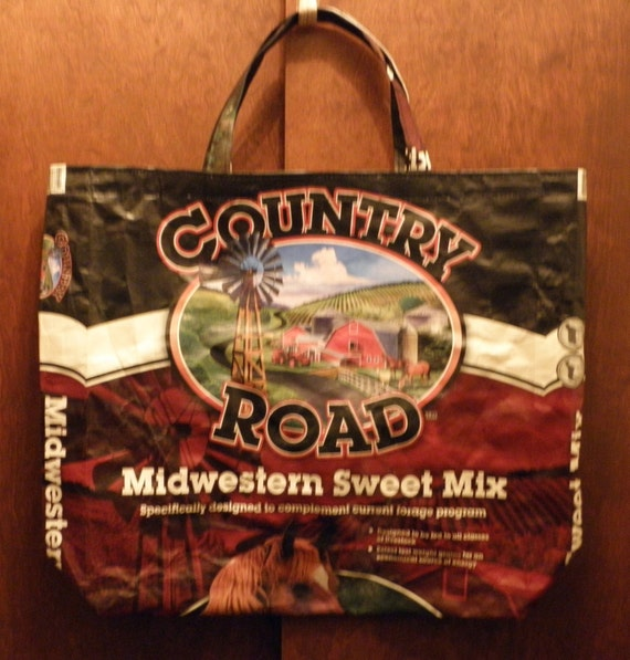 VALUE PRICED Large Upcycled Recycled Repurposed  Grocery Market Tote or Gift  Bag