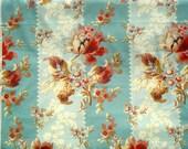 SALE : Sweet Sixteen aqua blue floral stripe Edyta Sitar Laundry Basket Quilts moda fabrics FQ or more