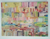 Abstract Oil Painting Impasto: Buildings on a Hillside
