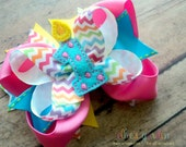 Birthday Candle Boutique Style Hair Bow Pink Yellow Turquoise Pastel Rainbow Chevron Polka Dot You Choose Number