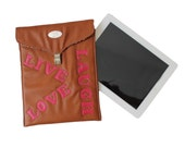 FREE SHIPPING. Camel / Tan Faux Leather iPad Sleeve. Padded Tablet Cover. iPad Storage. Live, Love, Laugh Quote. Inspiration iPad Sleeve