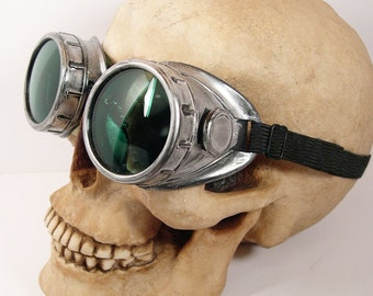 STEAMPUNK CYBER Distressed Silver Pewter Welders Metal - Look GOGGLES