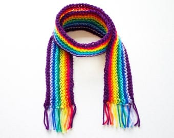 Purple Rainbow Pixie Scarf - Rainbow Scarf for a Child - Colourful Childrens Scarves