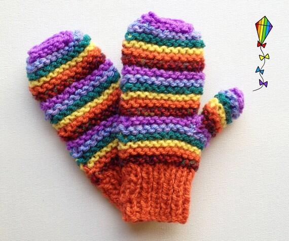 Autumn Rainbow Pixie Mittens - Children's Mitts / Childs' Glove / Kids' Mittens