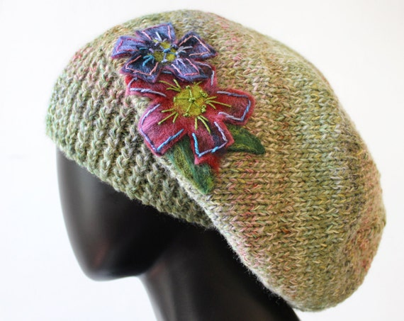 Pistachio Slouch Hat - Green Slouchy Hat with Flower - Elegant Tam Hat in Nutty Green