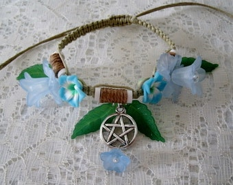 Flower Pentacle Bracelet wiccan jewelry pagan jewerly wicca jewelry goddess jewelry witch witchcraft pentagram metaphysical magic