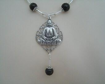 Silver Buddha Necklace, buddhist jewelry buddha jewelry boho jewelry zen new age meditation bohemian hippie jodo shinshu metaphysical
