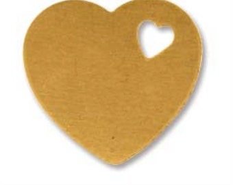 Brass Heart with Tiny Heart Cutout-Stamping Blank- Approx. - 14.9  x 16 mm 24g. You get 5