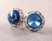 French Blue Swarovski crystal studs / blue rhinestone stud earrings / bridal studs / something blue
