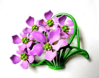 """Vintage Enamel Brooch Violet Violets Flowers Brooch Vintage Purple Flower 2 3/8"""" Pin Enameled Basket Gift for Her Gift Idea under 25"""