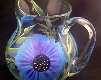 Hand Painted  Acalpulco Glass Pitchers (1)