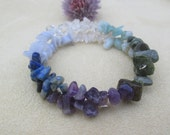 Amethyst, Lapis lazuli, Blue Lace Agate, Green Brecciated Jasper, Amazonite, Quartz, Bronzite, bracelet, healing stones