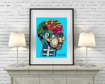 60% Off- ANATOMY Art Print Phrenology Chart Painting of Antique Medical Illustration Anatomical Head Skull by Heather Galler (HG856)
