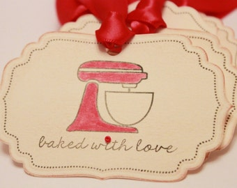 Baked with Love Food Label Tags (Double Layered) - Vintage Food Label Tags Baked Goods Gift Tags Food Tags Stand Mixer Gift Tags - Set of 8
