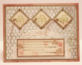 St. Patrick's Day Card - For Each Petal on the Shamrock - St Patty's Day Card - Shamrock Card - Irish Card - Irish Blessing Card