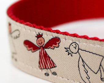 Angels Dog Collar, Christmas Pet Collar, Holiday, Red Dog Collar