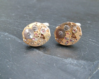 Stunning oval gold watch movement cufflinks ideal gift for a wedding, birthday or anniversary