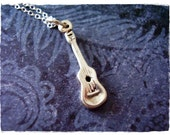 Tiny Silver Ukulele Necklace - Sterling Silver Ukulele Charm on a Delicate Sterling Silver Cable Chain or Charm Only