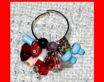 Red and Turquoise Color Multicolored Vintage Handmade Charm Ring