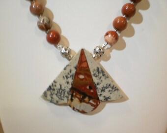 Multi Color Picasso Jasper Intarsia Pendant Necklace